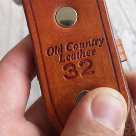 belt size stamped into leather