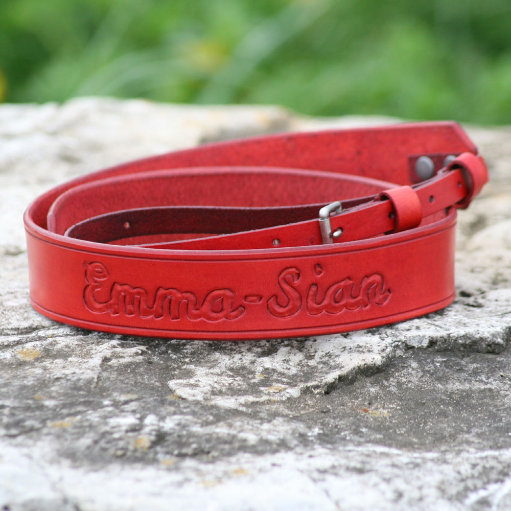 Red leather with antique nickel hardware