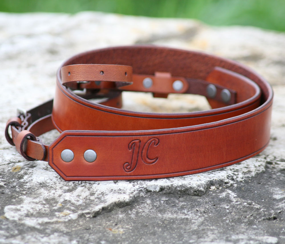 light brown camera strap personalized with initials